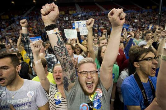 Des militants de Bernie Sanders à Oklahoma City, le 28 février 2016.
