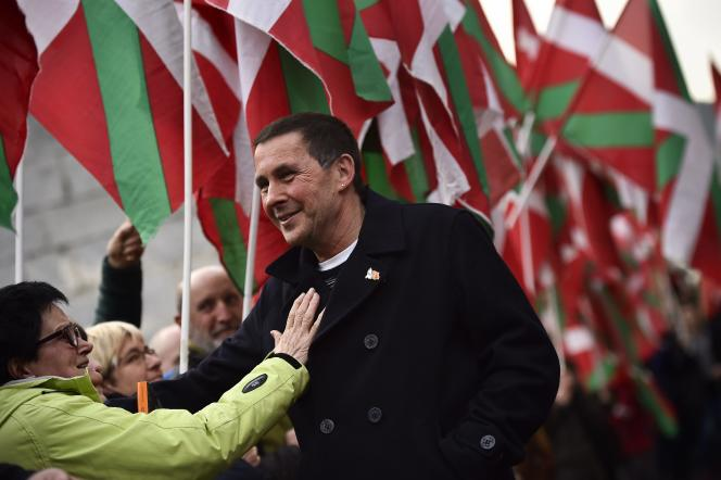 Arnaldo Otegi, chef de la coalition indépendantiste Bildu, à Elgoibar (Pays basque), le 1er mars 2016.