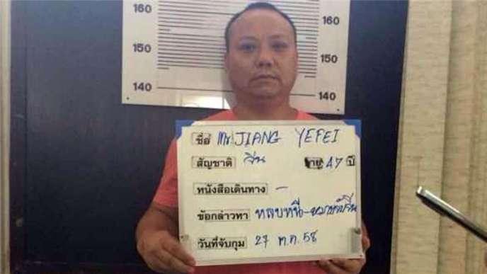 Jiang Yefei lors de son arrestation en Thaïlande.
