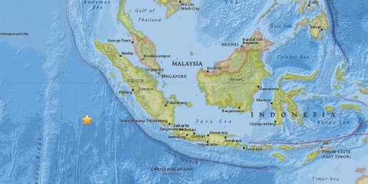 Localisation du séisme qui a touché le large de Sumatra, le 2 mars.