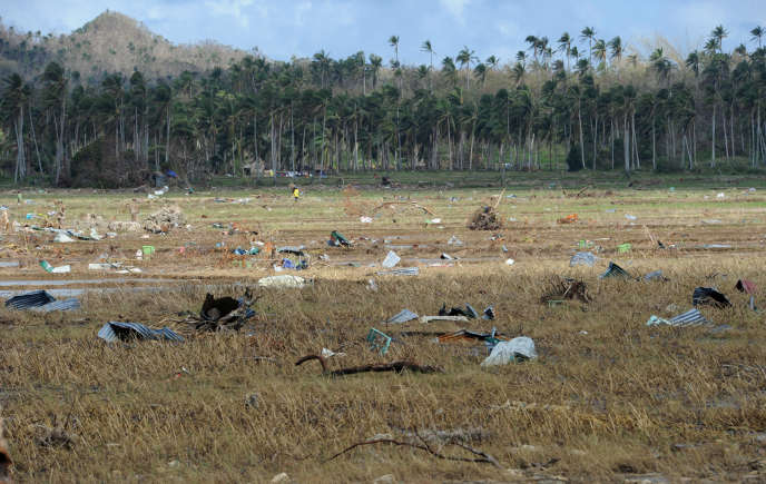 Des morceaux de tôle éparpillés dans une rizière près de Hernani (Philippines), après le passage dévastateur du typhon Haiyan, le 18 novembre 2013.