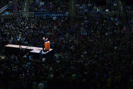 Meeting de campagne du candidat démocrate Bernie Sanders, sur le campus de l'Université d'Etat du Michigan, à East Lansing, le 2 mars.