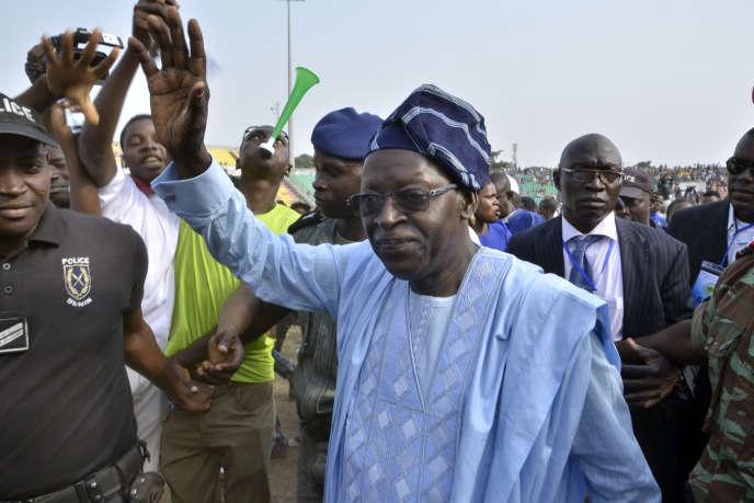 Le candidat à la présidentielle béninoise de février 2016, Abdoulaye Bio Tchané, en campagne électorale à Porto Novo le 7 janvier.