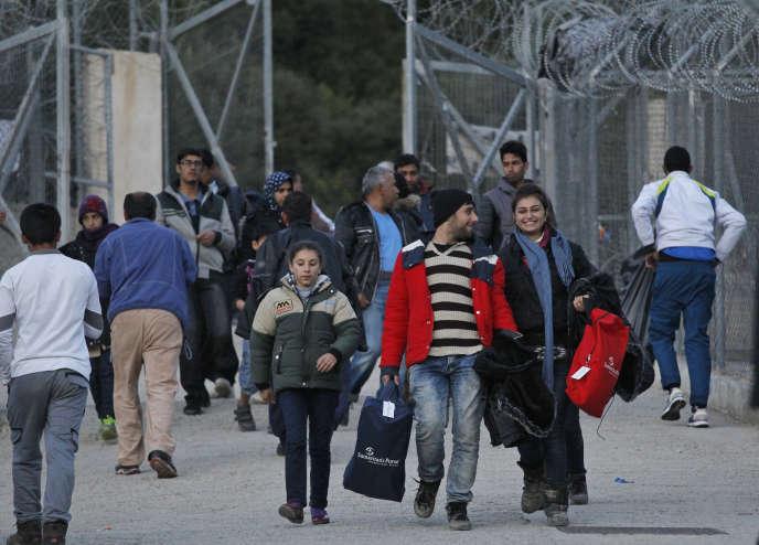 Arrivée de migrants sur le hotspot de l'île grecque de Samos, le 3 mars.