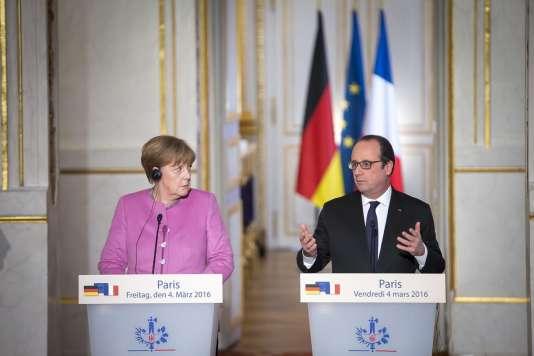 Angela Merkel et François Hollande, le 4 mars à l'Elysée.
