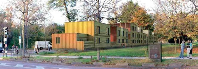 Image de synthèse du futur projet de camp d'hébergement d'urgence, à l'entrée du bois de Boulogne, dans le 16e arrondissement de Paris.