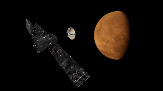 Photo-montage montrant la sonde Trace Gaz Orbiter ainsi que le module Schiaparelli destiné à se poser sur la Planète rouge.