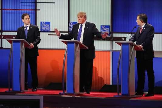 Marco Rubio, Donald Trump et Ted Cruz lors du onzième débat républicain, jeudi 3mars.
