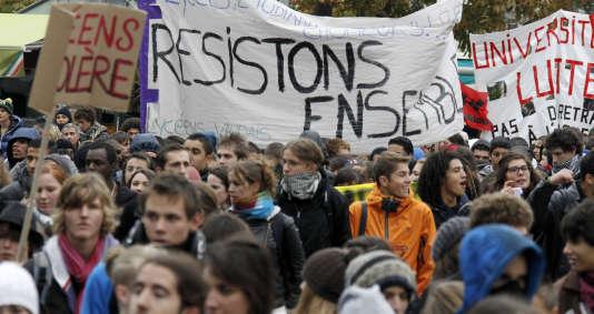 Manifestation étudiante à Lyon.