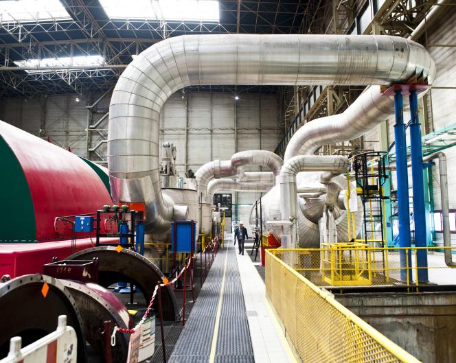 Bâtiment salle des machines. Centrale nucléaire de Fessenheim.
