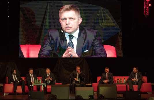 Le premier ministre Robert Fico, pendant un meeting de campagne à Bratislava, le 2mars.