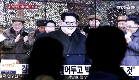 Le dirigeant nord-coréen Kim Jong-un apparaît à la télévision à Seoul, en Corée du Sud, le 4 mars.