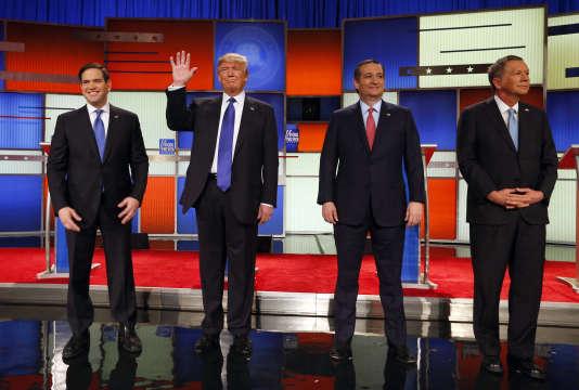 Marco Rubio, Donald Trump, Ted Cruz et John Kasich (de gauche à droite), pendant le débat organisé par Fox News, à Detroit, le 3 mars.