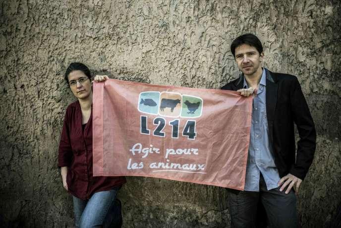 Brigitte Gothière et Sébastien Arsac, cofondateurs de l'association L214, le 1er mars 2016