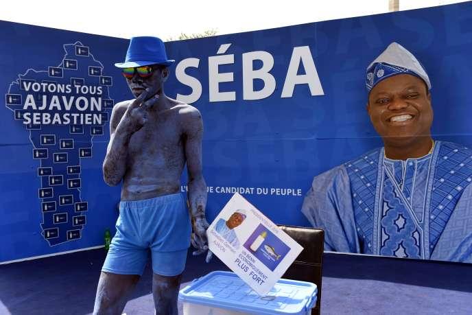 Le stand de campagne du candidat à la présidentielle béninoise, Sébastien Ajavon.