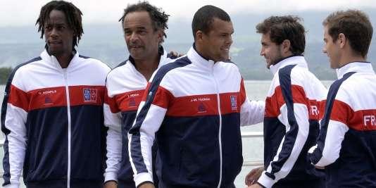 Gaël Monfils, Yannick Noah, Jo-Wilfried Tsonga, Gilles Simon et Richard Gasquet à Pointe-à-Pitre, le 3 mars 2016.