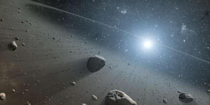 Vue d'artiste de la ceinture d'astéroïde entourant l'étoile Vega (située à 26 années-lumière, dans la constellation de la Lyre).