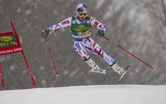 Alexis Pinturault lors du slalom géant de Kranjska Gora, en Slovénie, le 5 mars 2016.