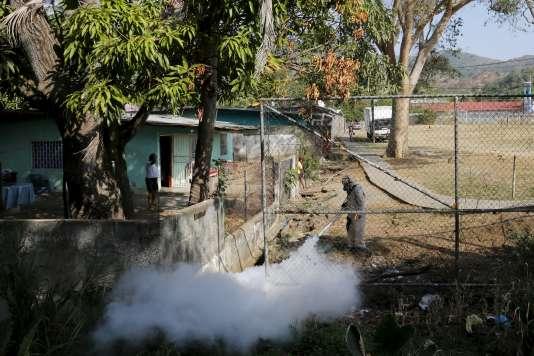Opération de fumigation contre les moustiques à Veracruz près de Panama City le 25 février 2016.