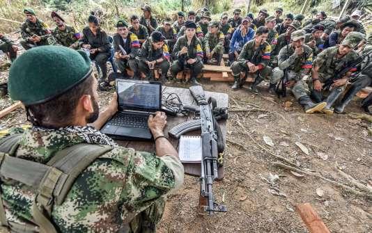 Des guérilleros des FARC discutent du processus de paix, en février 2016.
