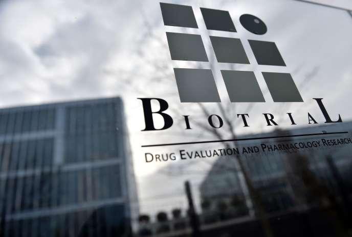 Le logo du laboratoire Biotrial à Rennes, le 16 janvier.