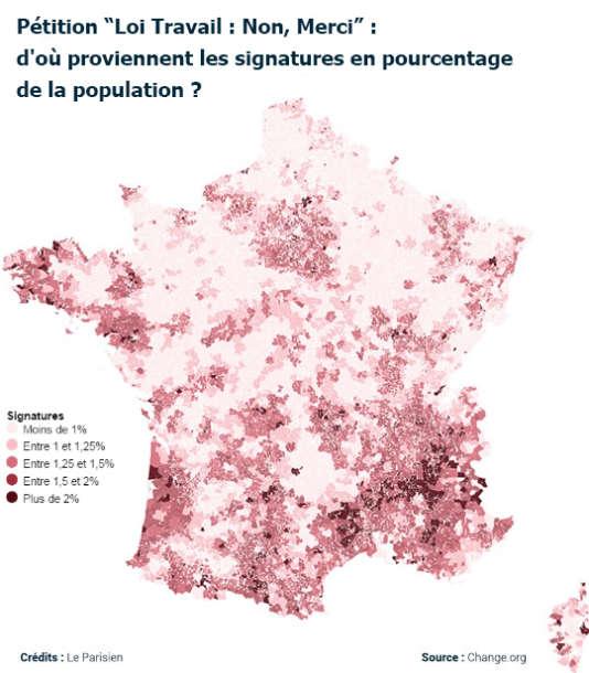 """Carte des signataires de la pétition """"Loi travail, non merci"""", conçue par """"Le Parisien"""""""