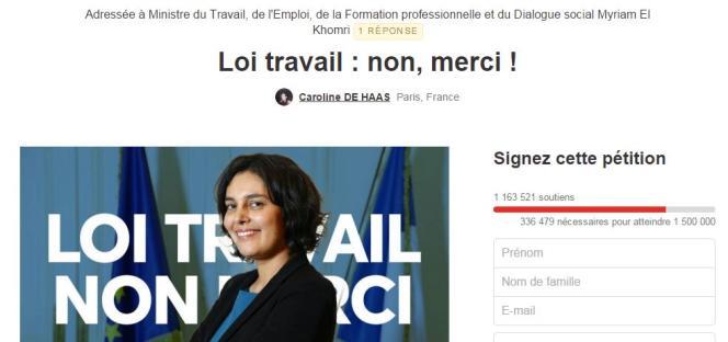 Capture écran de la pétition