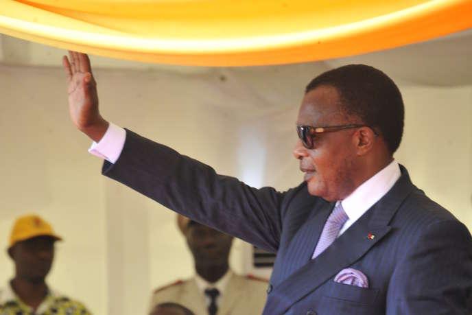 Le président congolais Denis Sassou-Nguesso en déplacement en Guinée, le 28 septembre 2015.