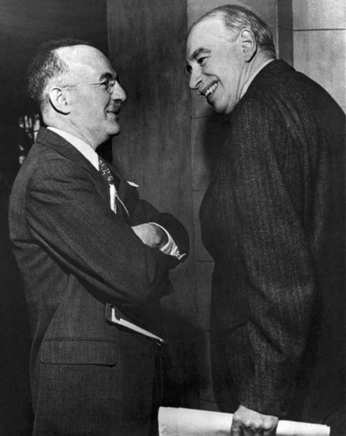 « C'est sans doute Keynes qui définissait le mieux ce qu'est un économiste « de qualité, ou simplement compétent ». Il doit combiner des talents qu'il est rare de trouver réunis : être mathématicien, historien, homme d'Etat, philosophe, atteindre le concret et l'abstrait» (Photo: Keynes, à droite, etle secrétaire américain du Trésor, Harry Dexter White en 1946).