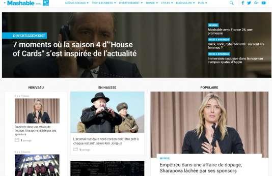 La page d'accueil de la version française de Mashable, mardi 8 mars 2016.