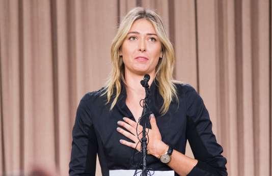 La Russe Maria Sharapova lors de la conférence de presse à Los Angeles, en Californie, lors de laquelle elle a annoncé son contrôle positif à l'Open d'Australie, le 7 mars.