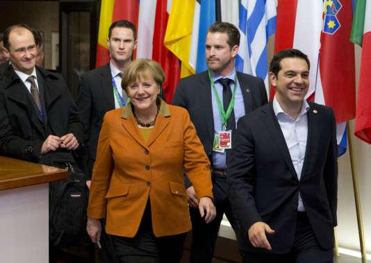 Le premier ministre grec, Alexis Tsipras, et la chancelière allemande, Angela Merkel, le8 mars à Bruxelles.