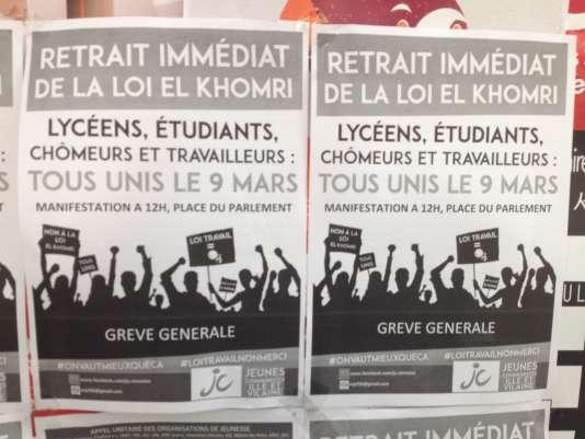 """""""De nombreux pays de l'Union européenne plafonnent déjà les dommages et intérêts octroyés par leurs tribunaux. Tel est le cas de l'Italie, de la Grande-Bretagne mais aussi de la Belgique, de la Suède ou encore de la Finlande. On fait quand même mieux comme pays franchement hostiles aux droits des salariés!"""" (Photo: appel à la manifestation contre la loi El Khomri à l'université de Rennes 2)."""