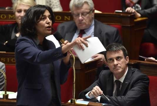 La ministre du travail Myriam El Khomri lors des questions au gouvernement à l'Assemblée nationale, le 8 mars.