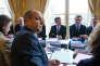 Laurent Berger, secrétaire général de la CFDT, face à Manuel Valls et Emmanuel Macron, à Matignon, lundi 7mars.