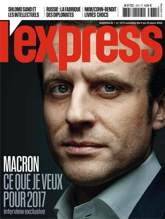 """La couverture de la nouvelle formule de """"L'Express"""" du 9 mars 2016, consacrée à Emmanuel Macron, le ministre de l'économie"""