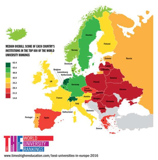 Score total moyen des établissements de chaque pays du top 800 des universités mondiales, d'après le Times Higher Education, le 10 mars 2016.