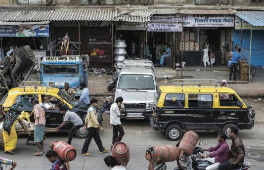 Une rue du bidonville de Dharavi, à Mumbai.