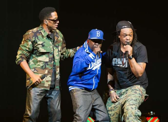 De gauche à droite : Q-Tip, Phife Dawg et Jarobi White au Barclays Center, à New York,  le 19 novembre 2013.