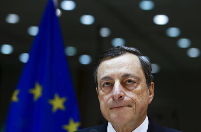 European Central Bank (ECB) Le Président de la Banque Centrale Européenne, Mario Draghi, à Bruxelles le 15 février 2016.