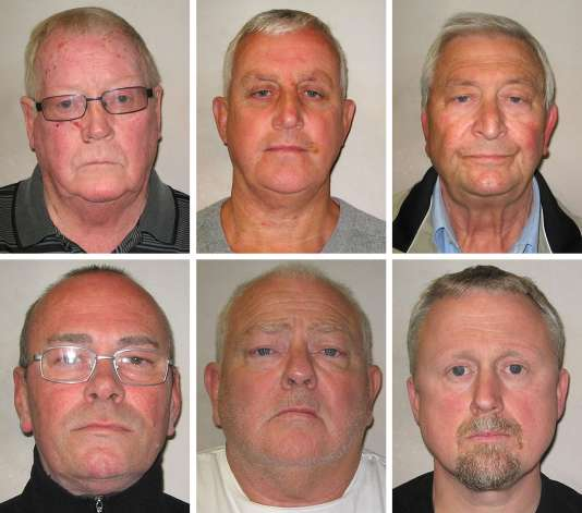 De haut en bas et de gauche à droite, John Collins, Daniel Jones, Terry Perkins, Carl Wood, William Lincoln et Hugh Doyle, les six malfaiteurs condamnés pour le casse de Hatton Garden.