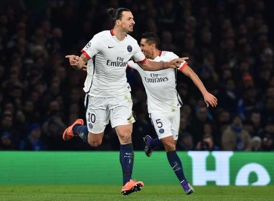 Le joueur Zlatan Ibrahimovic pendant le match opposant  Chelsea au Paris Saint-Germain (PSG) à Stamford Bridge, Londres, le 9 mars 2016.