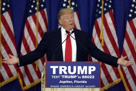 Le candidat à l'investiture républicaine, Donald Trump, lors d'un meeting de campagne à Jupiter, en Floride, le 8 mars.