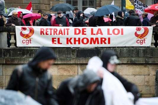 Défilé contre le projet de loi El Khomri, le 9 mars à Rennes.