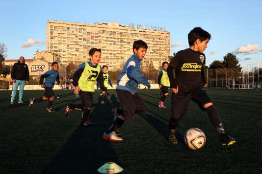 Entraînement des plus jeunes au stade de la Pomme, le 3 février.