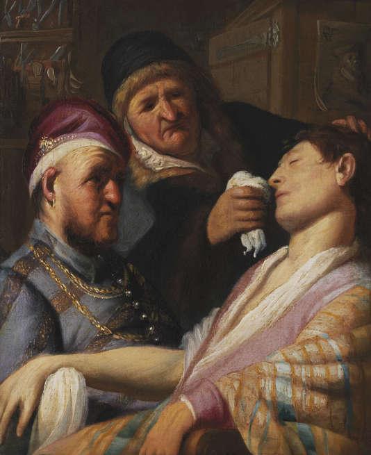 """""""Le Patient évanoui (L'Odorat)"""", de Rembrandt (vers 1624)."""