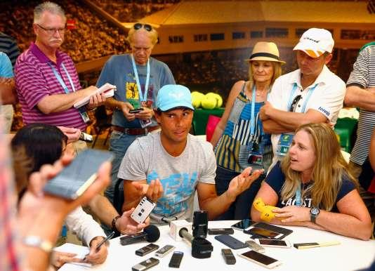 Rafael Nadal lors d'une conférence de presse en marge du tournoi d'Indian Wells, en Californie, le 9 mars 2016.