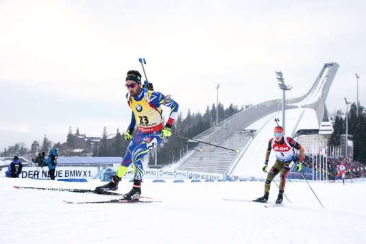 Martin Fourcade lors de l'épreuve du 20 kilomètres aux championnats du monde d'Oslo, le 10 mars 2016.