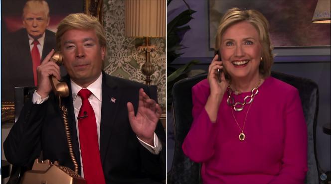 Jimmy Fallon métamorphosé en Donald Trump au téléphone  avec Hillary Clinton pour son émission du «Late-Night Show»..