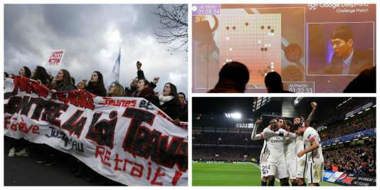 """Mobilisation contre le projet de """"loi travail"""", victoire de la machine contre l'humain au jeu de go, le PSG qualifié en Ligue des champions : résumé de la semaine."""